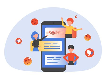 People bullying, trolling online in phone chat. Flat vector illustration for landing page, web, poster, banner, flyer, layout, template. Illustration