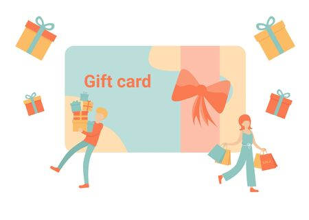 Gift card and promotion, discount coupon and gift certificate concept. Man and woman characters. Vector isolated concept illustration with tiny people and presents.