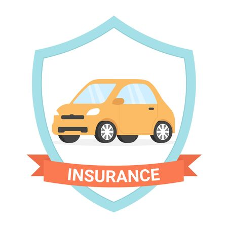 Insurance car icon design. Flat vector illustration isolated on white background.