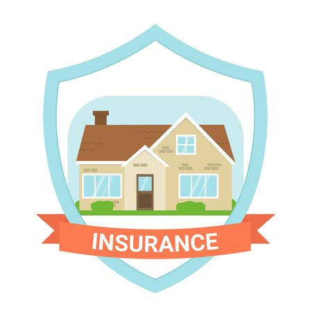 Insurance house icon design. Flat vector illustration isolated on white background. Ilustração