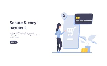 Girl clicks on the screen of a smartphone. Woman orders goods online through the application on the phone. Digital flat vector concept design illustration.