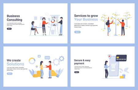 Set flat concept vector modern illustrations for landing page, web, poster, banner, flyer, layout, template. Service to grow your business, secure and ease payment, solutions.