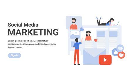 Flat vector design concept social media marketing for banner, website, landing page template.