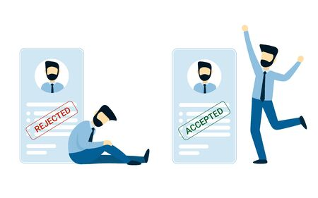 A man was accepted, refused a job. Happy and frustrated businessman. Blank or resume with stamp rejected and accept. Flat vector male character design concept illustration for business.