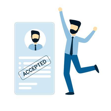 Ein Mann wurde eine Stelle angenommen. Glücklicher Geschäftsmann. Blanko oder Lebenslauf mit Stempel gemietet. Flache Vektor männlichen Charakter Design Konzept Illustration für Unternehmen.