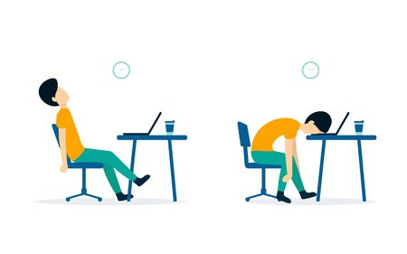 Professional burnout. Male office worker sitting at the table. Long working day. Flat vector illustration isolated on white background. Illustration