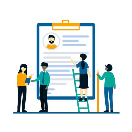 Tiny people near resume clipboard. Job hiring and online recruitment concept. Search employees. Flat vector design illustration for web landing page, banner, presentation, social media.
