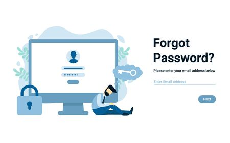 Unhappy businessman near computer forgot account login and password. Vector male character design concept for business. Illustration for landing page, web, poster, banner, layout, template. Vettoriali