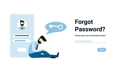 Unhappy businessman forgot account password. Vector male character design concept for business. Illustration for landing page, web, poster, banner, layout, template. Иллюстрация