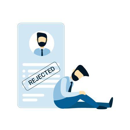 Einem Mann wurde ein Job verweigert. Frustrierter Geschäftsmann. Leer oder Lebenslauf mit abgelehntem Stempel. Flache Vektor männlichen Charakter Design Konzept Illustration für Unternehmen. Vektorgrafik