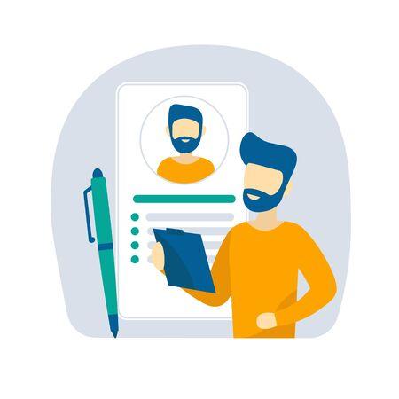 Ein Mann füllt einen Lebenslauf für eine Anstellung aus. Flache Vektor-Design-Konzept-Illustration für Unternehmen.