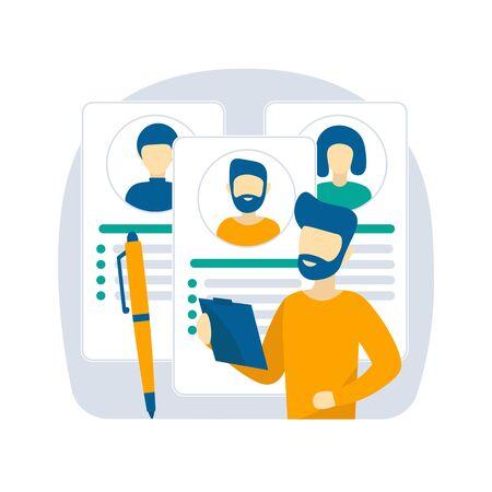 Lebenslauf, Lebenslauf. Jobsuche und Recruiting-Konzept. Ein Mann füllt einen Lebenslauf für eine Anstellung aus. Modernes flaches Vektordesignkonzept für Webbanner, Websites, Infografiken, Landing Page.