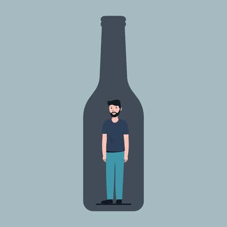 Sick drunk guy in the bottle of wine. Concept flat vector illustration of alcohol addiction. Vector. Illustration