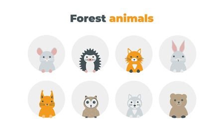 Forest animals set in flat style isolated on white background. Cute cartoon wild animals avatars collection: mouse, hedgehog, fox, hare, squirrel, owl, wolf, bear. Ilustração