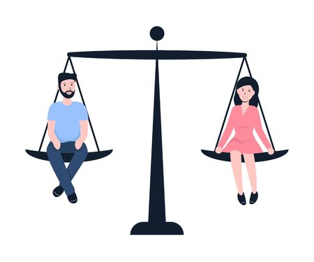 Man and woman sitting on weighing dishes of balance scale, equality. Flat modern vector illustration. Stock Illustratie