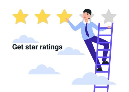 Flat Illustration of a man hand giving three star rating. Review. Feedback, reputation and quality concept. Get star reting.