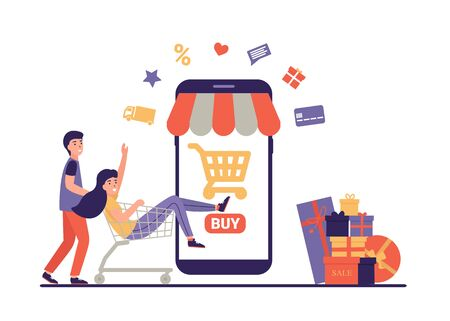Happy people doing online shopping in store on the phone. They used a mobile app on a smartphone. Flat vector cartoon illustration template for web landing page, banner, social media, poster, flyer.