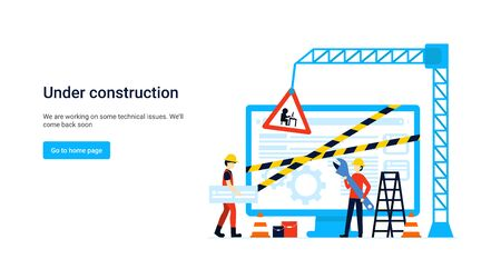 Flat concept site under construction for web page, banner, presentation, social media, documents. Website maintenance error, webpage under construction. Error warning window operating system. Vector.