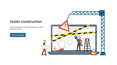 Site de concept plat en construction pour page Web, bannière, présentation, médias sociaux, documents. Erreur de maintenance du site Web, page Web en construction. Erreur du système d'exploitation de la fenêtre d'avertissement. Vecteur. Vecteurs