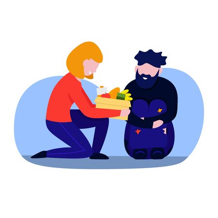 Helping to homeless. Good woman volunteer giving products to beggar man, Flat vector characters illustration isolated on white background.