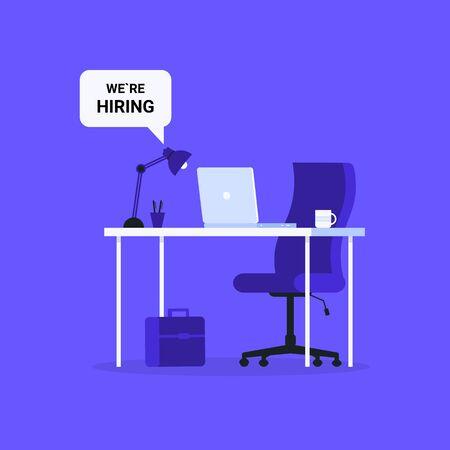 Composition office workplace, chair, desk, laptop. We are Hiring people. Flat vector illustration template for web landing page, banner, presentation, social media, poster, flyer. Vektorové ilustrace