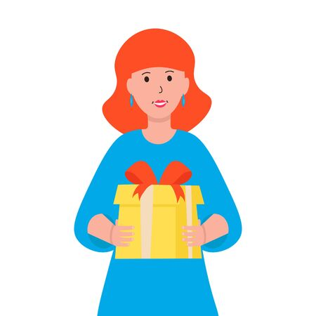 Woman happy character give a gift. Girl holds a red present box in her hands. Flat vector illustration isolated on white background.