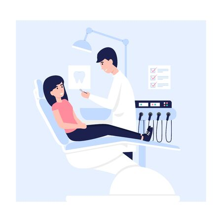 Woman sits in a dental chair in the hospital office. Young doctor man and female patient medicine care teeth flat vector concept illustration.