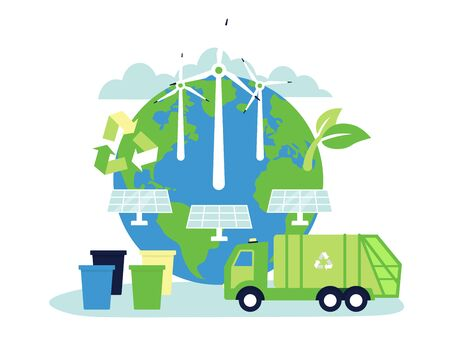 Concept Planet with solar energy panels, windmills, bins, urban sanitary vehicle garbage, truck for assembling. Environment, ecology, nature protection, recycle waste. Flat vector illustration.
