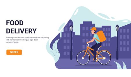 Courier male on bicycle with parcel box on the back delivering food in the city. Ecological fast delivery shopping concept, flat illustration for web design, banner, app, landing page, promotion.