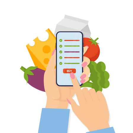 Woman holding phone and order food via mobile, online food delivery service. Flat vector illustration concept isolated white background. Use for, landing page, template, web, app, poster, banner.