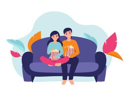 Coppia donna e uomo a casa seduti sul divano, guardando film e mangiando popcorn insieme. Concetto di comfort domestico dell'illustrazione del fumetto di vettore piatto.