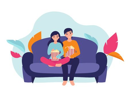 Couple woman and man at home sitting on sofa, watching movie and eating popcorn together. Flat vector cartoon illustration home comfort concept.