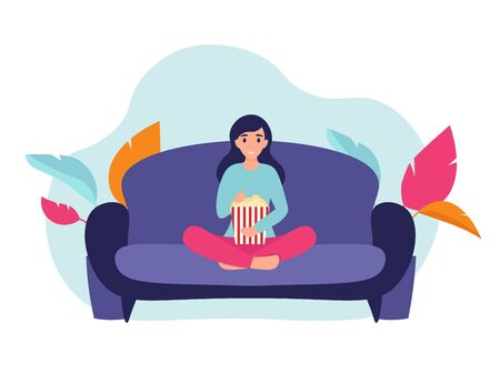 Woman at home sitting on sofa, watching movie and eating popcorn. Flat vector cartoon illustration home comfort concept.