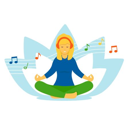 Young woman listens to music on headphones and meditates in the lotus position. Flat vector cartoon character illustration isolated on white background. Illustration
