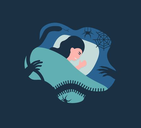 Tired woman lying in bed at night. Female character suffer from sleeping disorder, nightmare, insomnia, sleeplessness. Flat vector cartoon illustration.