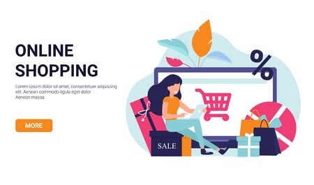 Girl is shopping online. Big laptop and gifts on the background. Modern banner design for sale and discount. Shopping concept flat illustration for web design, banner, app, landing page, promotion. Illustration