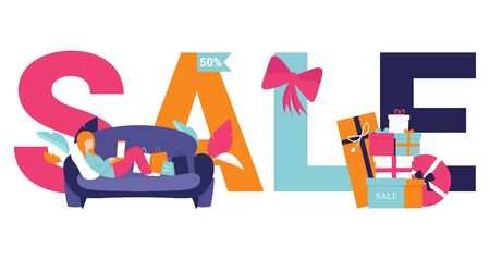 Large inscription SALE on white background. Modern banner design for sale and discount. Shopping concept flat illustration for web design, banner, app, landing page. Woman on the couch doing shopping.