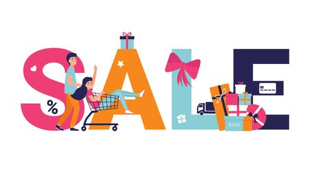 Large inscription SALE on white background. Modern banner design for sale and discount. Shopping concept flat illustration for web design, banner, app, landing page. Couple people doing shopping.