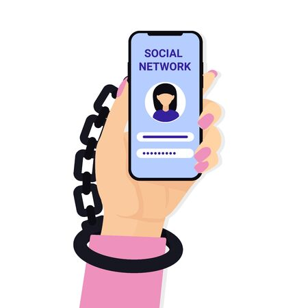 Internet, social media network addiction concept. Woman hand hold mobile phone and Handcuffs.