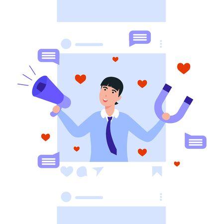 Network social media marketing promotion. Influencer man holding megaphone and magnet. Flat vector cartoon illustration for internet advertisement.