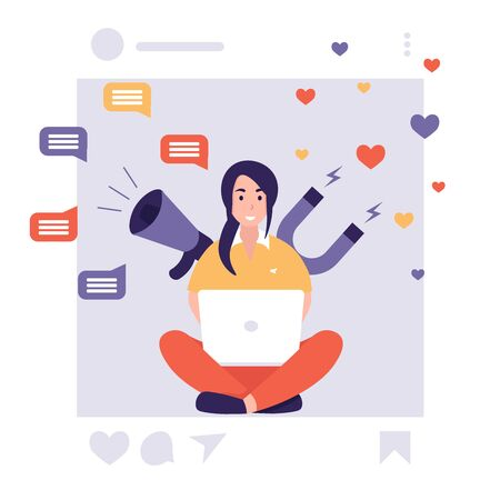 Network social media marketing promotion. Influencer woman, megaphone and magnet. Flat vector cartoon illustration for internet advertisement. Illustration