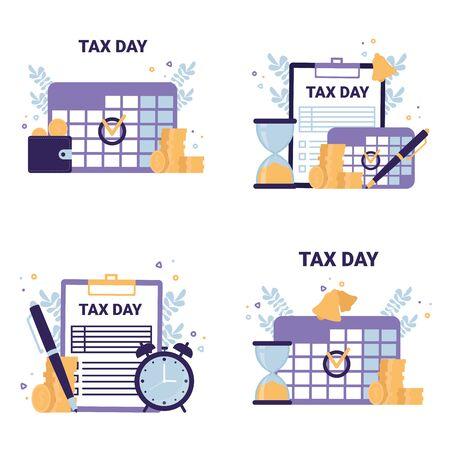 Tax Day flat vector concept icons illustrations. Calendar, coins, clipboard, pen, clock, purse. Çizim