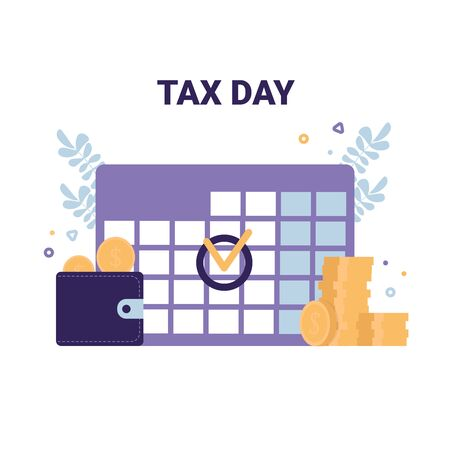 Tax Day flat vector icons illustration modern concept. Calendar, purse and coins symbols.  イラスト・ベクター素材