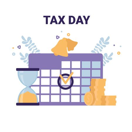 Tax Day flat vector icons illustration concept. Calendar mark, sandglass, coins.