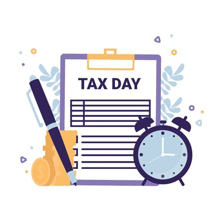 Tax Day flat vector concept icons illustration. Clipboard Tax form, clock, pen, coins money.