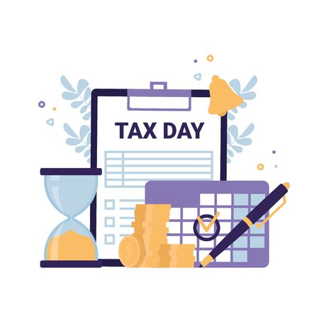 Tax Day flat vector icons illustration concept. Clipboard Tax form, hourglass time is up, calendar mark, coins money, bell notification.  イラスト・ベクター素材