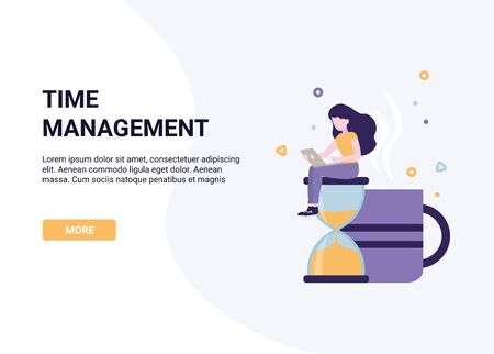 Woman sitting on hourglass. Concept business Time management. Flat design vector illustration banner.