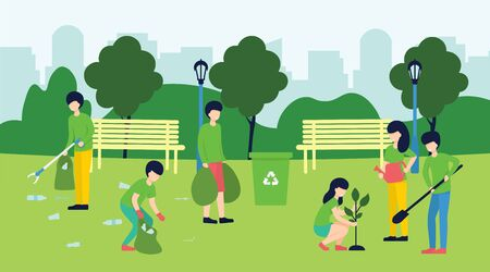 Volunteering, social concept. Volunteer team of people cleaning garbage and plant a trees on lawn of city park, vector flat illustration. Ecological lifestyle.