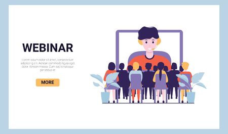 Training conference and couch lecture. Teacher and leader educates business webinar audience. Business consultation, project assistance. Flat vector concept illustration isolated on white background. Stock Illustratie