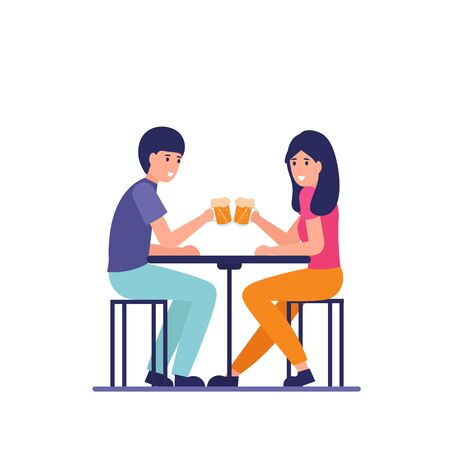 Guy and girl at the table with drink beer. Friendship relationship. Flat cartoon vector illustration.